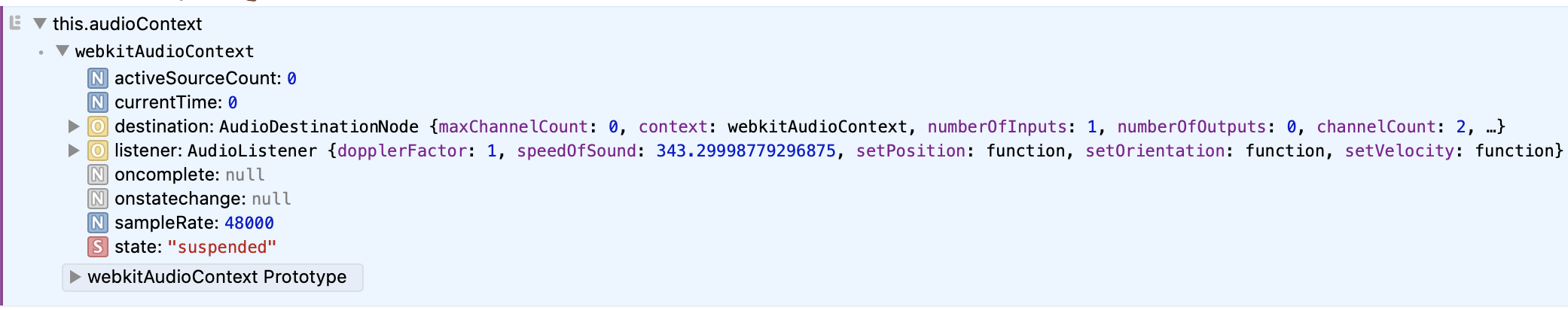 Dev console showing the output of logging this.audioContext. The state attribute is shown as suspended