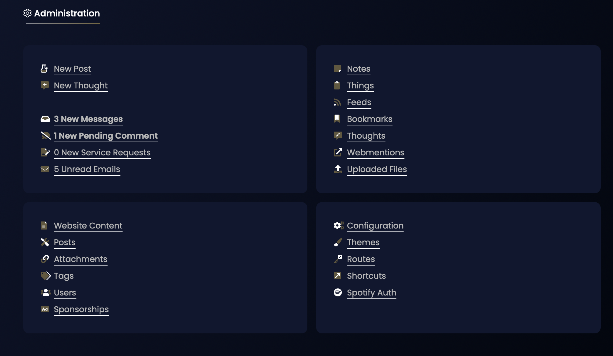Screenshot of the Admin section.