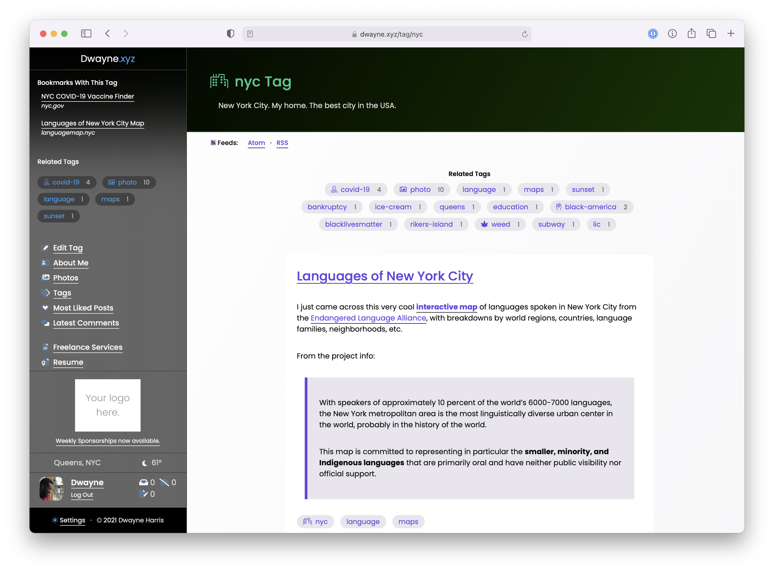 Screenshot of the nyc Tag page.