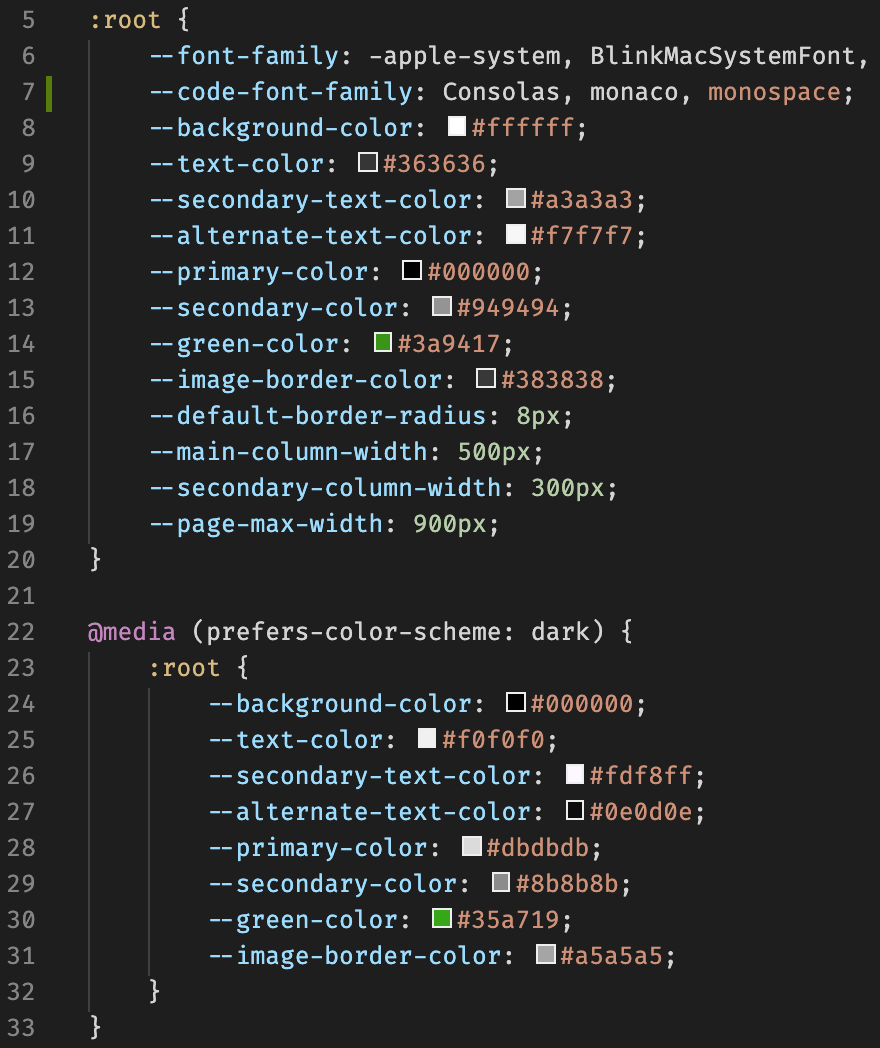 prefers-color-scheme media query