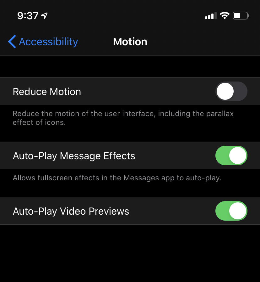 Reduce motion in iOS