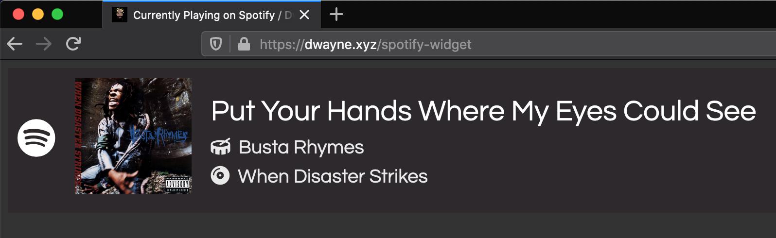 Screenshot of my spotify widget page